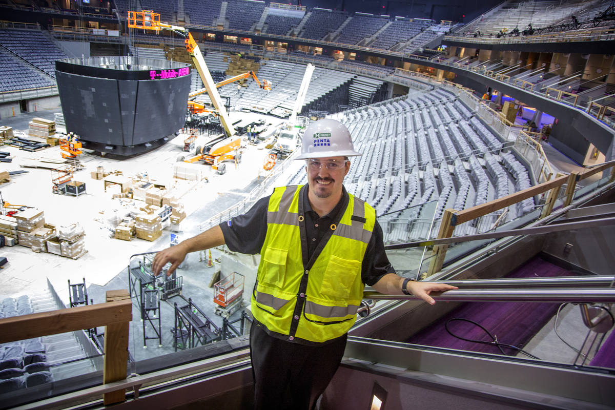 Dan Quinn, vice president and general manager of T-Mobile Arena, stands inside a suite Monday, ...
