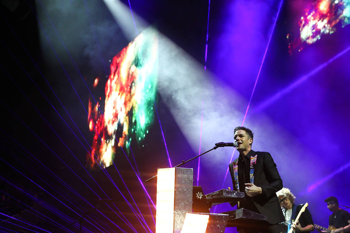 Brandon Flowers of The Killers performs during the grand opening of the T-Mobile Arena in Las V ...
