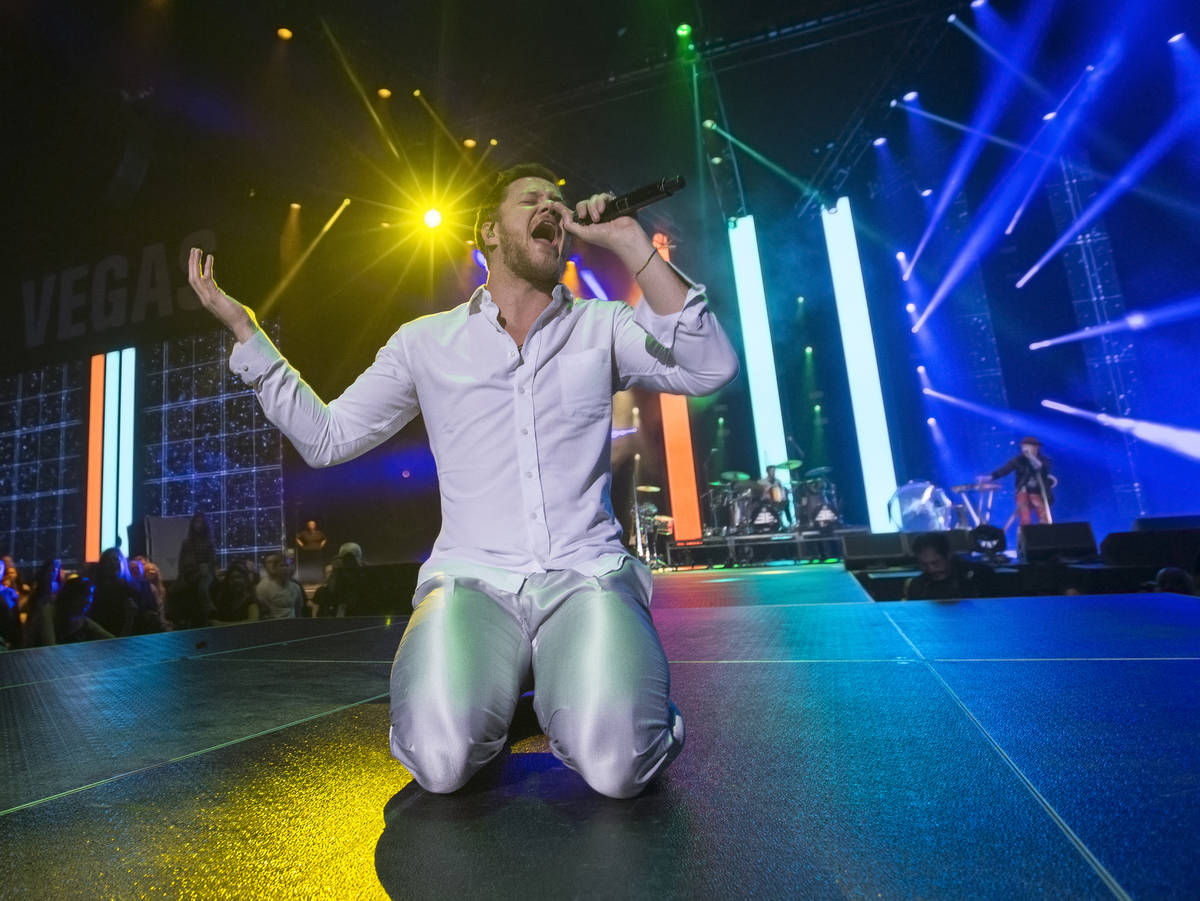 Imagine Dragons frontman Dan Reynolds performs during the Vegas Strong Benefit Concert at T-Mob ...
