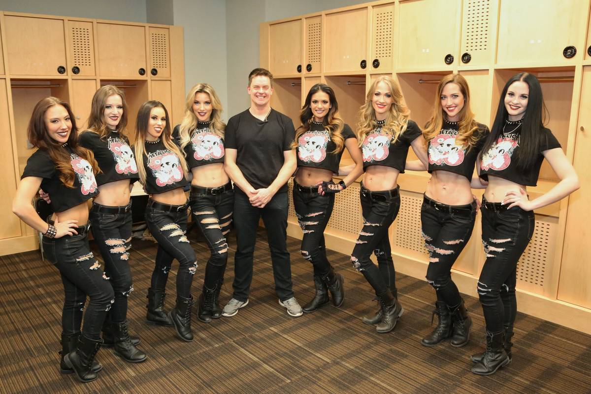 """Comic Jim Breuer is shown with the cast of """"X Rocks"""" at T-Mobile Arena prior to the opening of ..."""