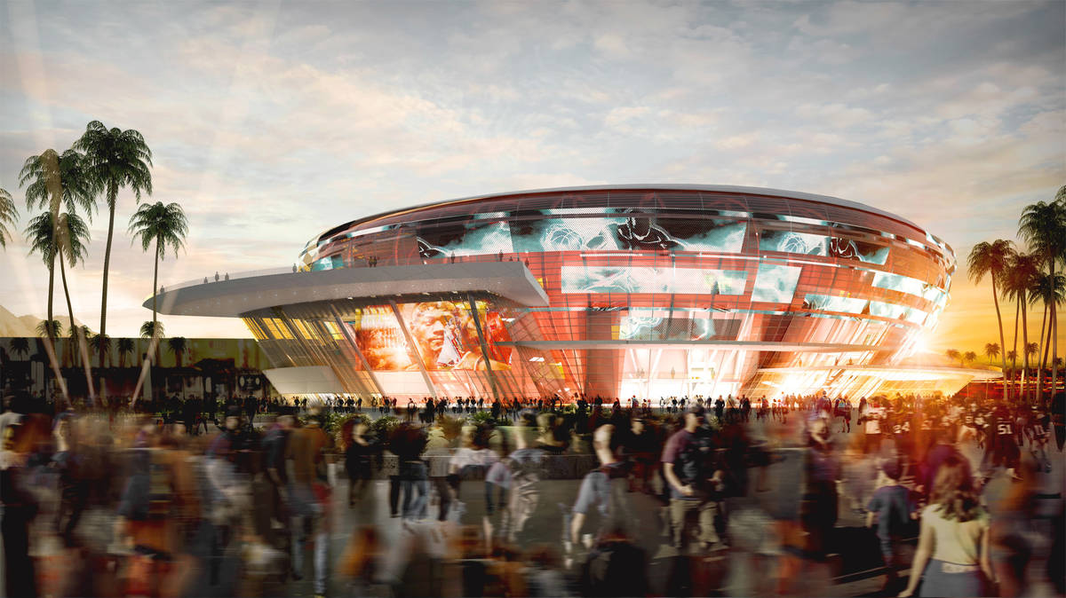 A rendering of the arena that former NBA player Jackie Robinson wants to build on the north Str ...