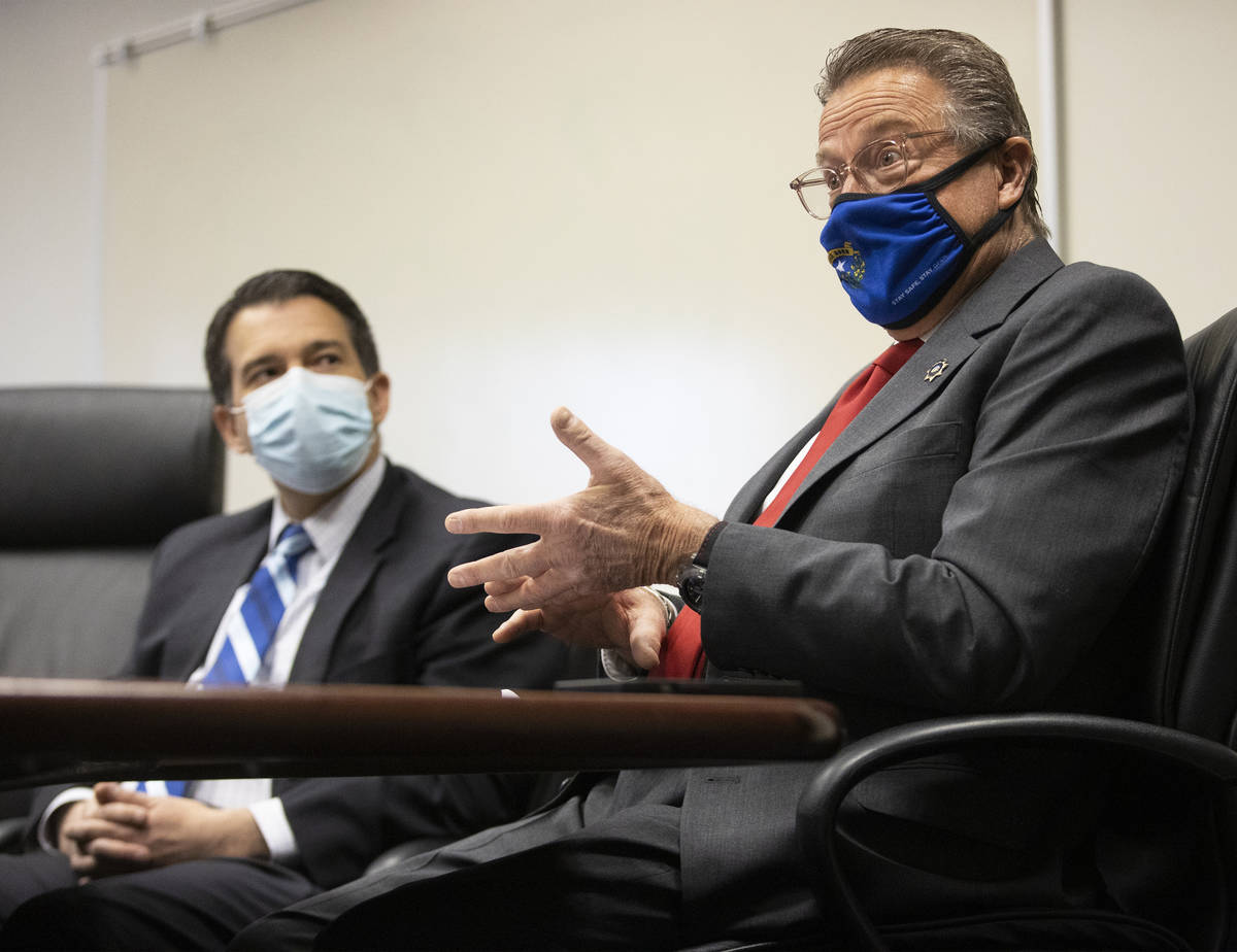 John Moran, right, chairman of the Nevada Gaming Commission, and Brin Gibson, chair of the Neva ...