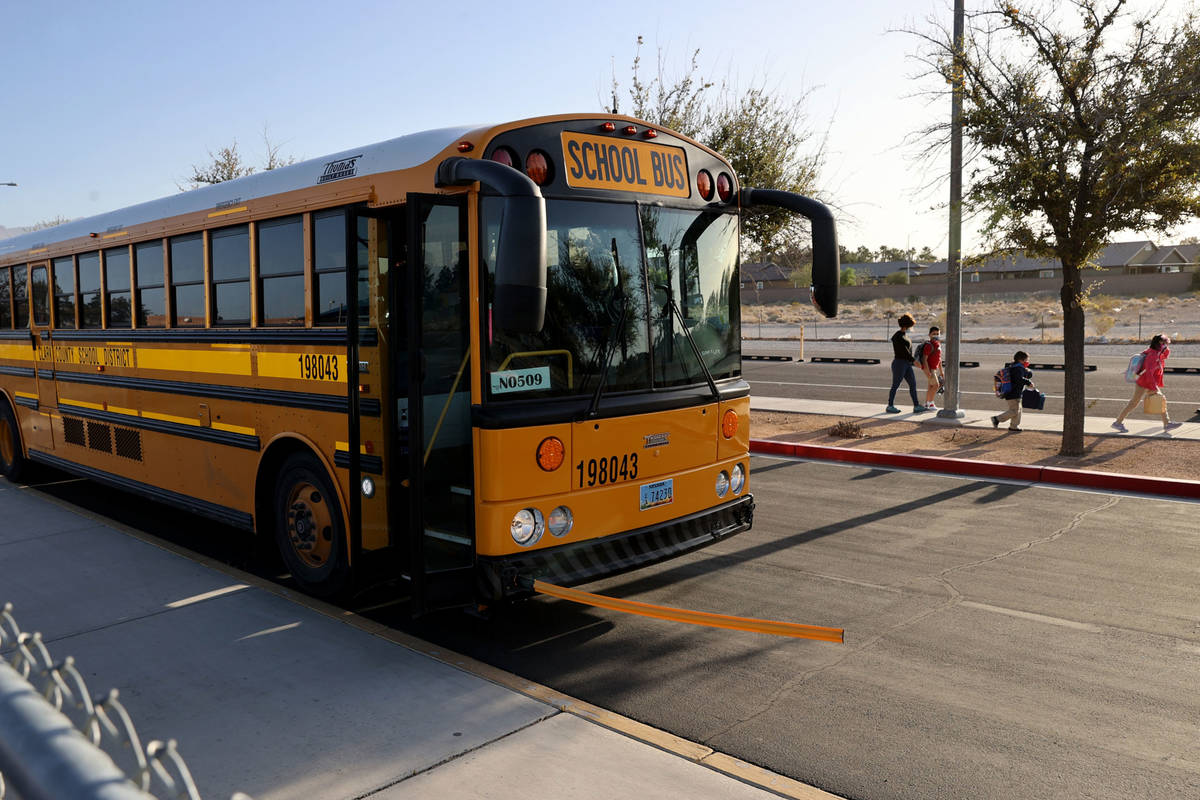 Students arrive at Neal STEAM Academy in Las Vegas Tuesday, April 6, 2021. After a year of dist ...
