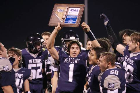 Meadows' Michael Corrigan (1) celebrates his team's win in the Class 2A Southern Region Champio ...