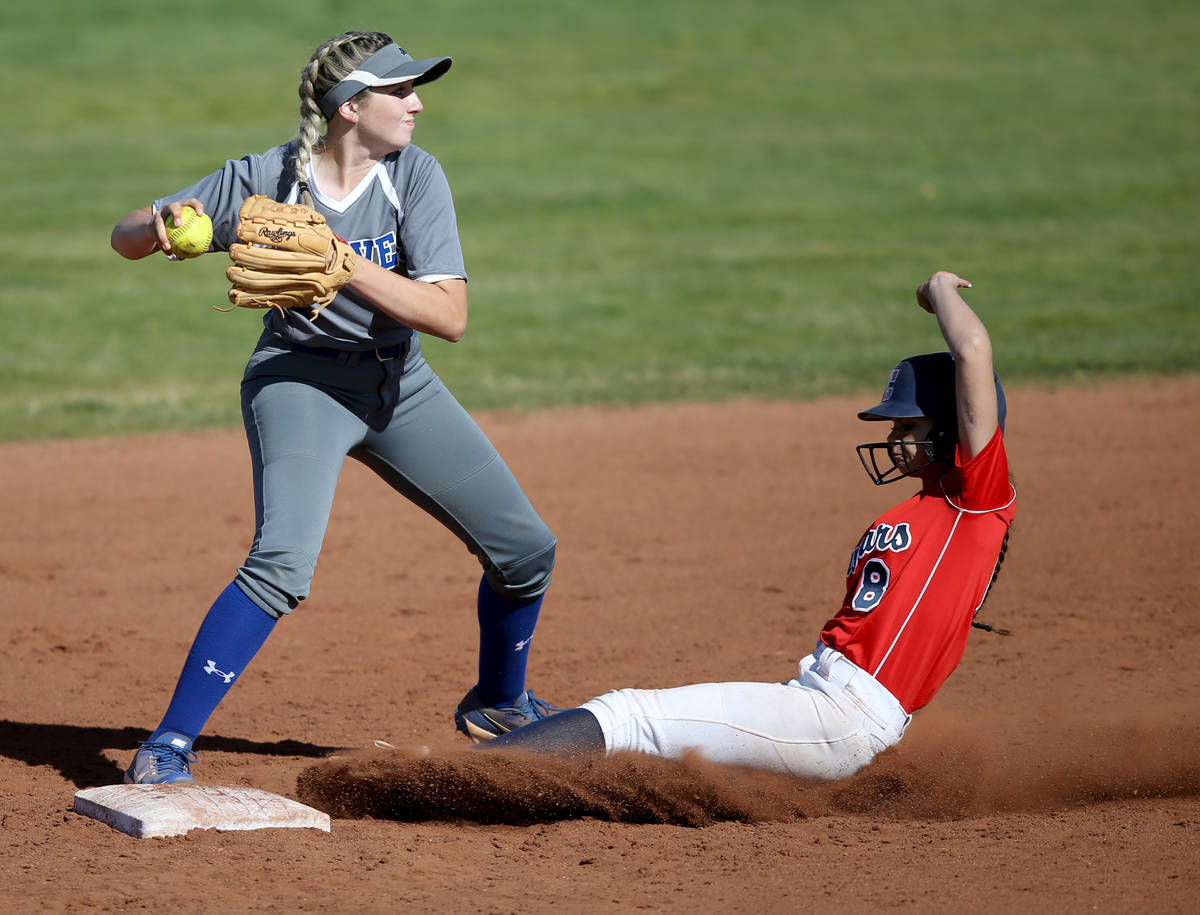 Basic's Sierra McClean (12) forces out Coronado Madison Stephens (8) in the third inning during ...
