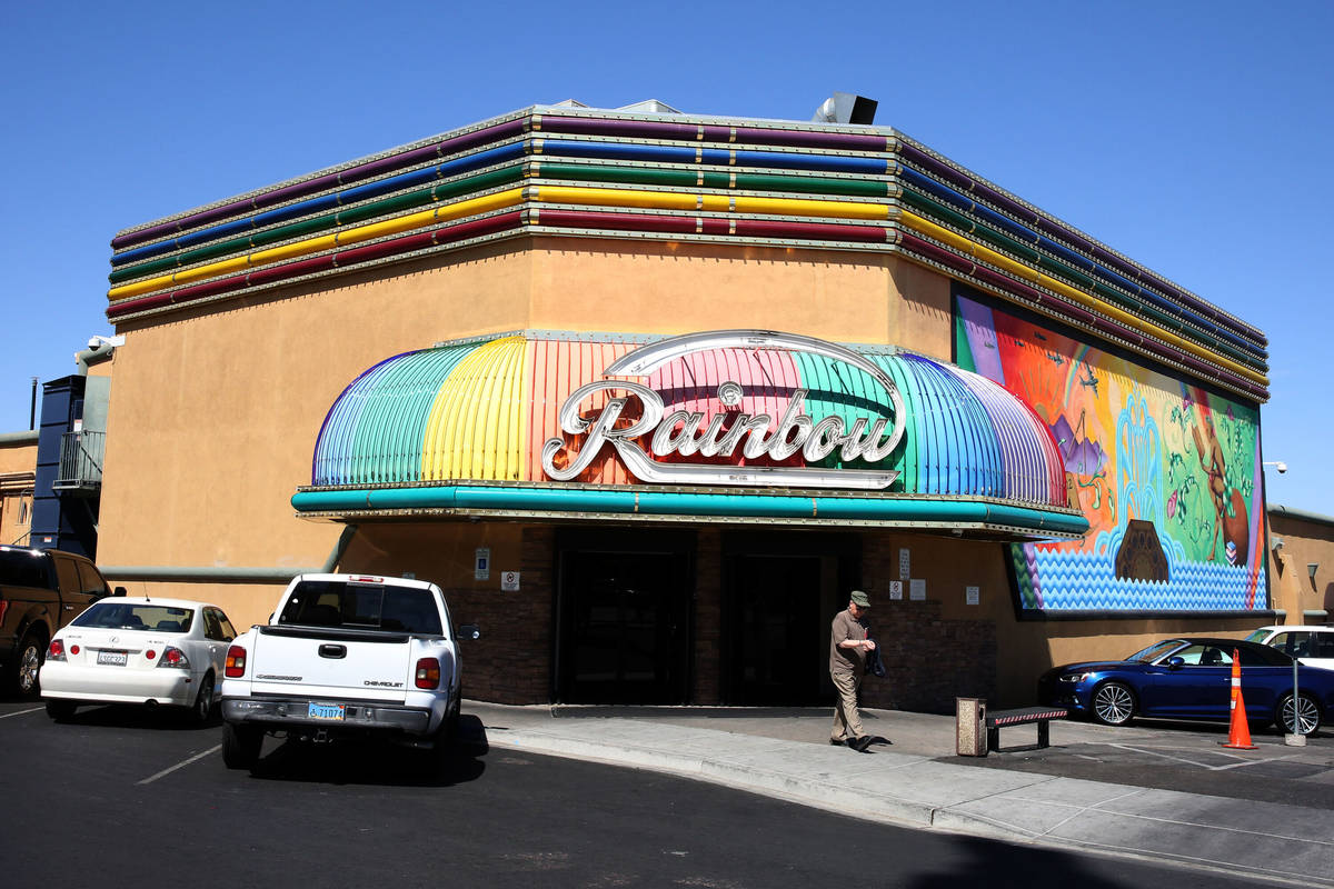 A customer exits Rainbow Club and Casino on Water Street in downtown Henderson on Wednesday, Ap ...
