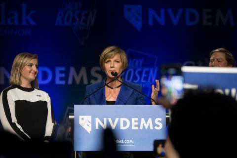 Susie Lee addresses the crowd after winning Nevada's Third Congressional District seat. (Benj ...