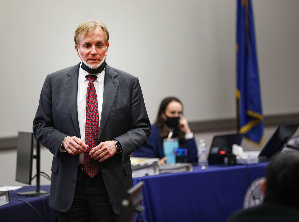 William Drury, attorney for MedicWest Ambulance, delivers his closing argument to the jury at t ...