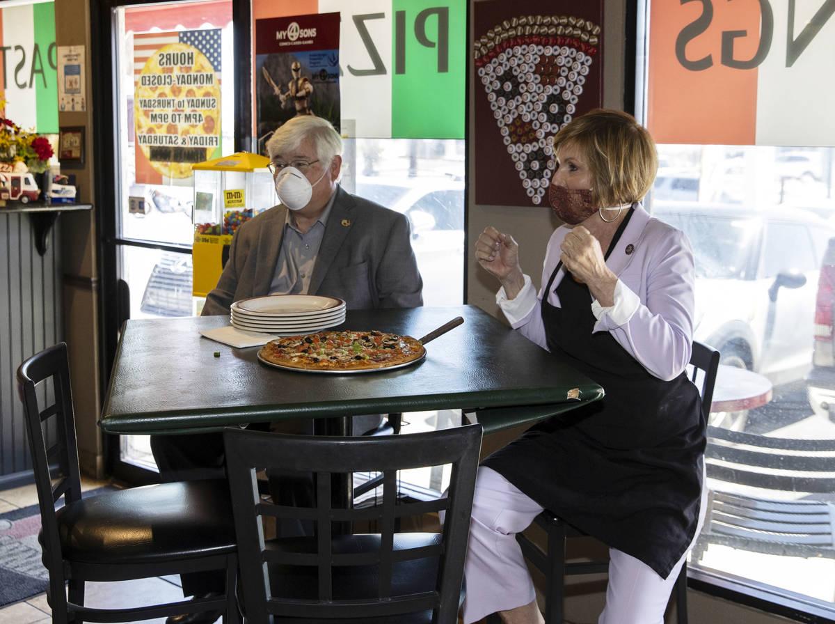 Rep. Susie Lee and Boulder City Mayor Kiernan McManus visited Vinny's Pizzeria to talk about ho ...