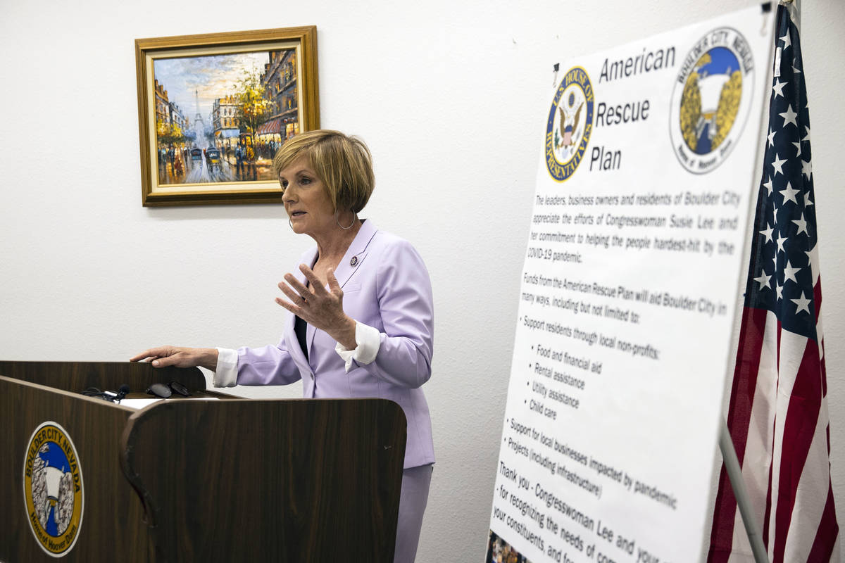 Rep. Susie Lee speaks about American Rescue Plan during a press conference, on Tuesday, April 6 ...