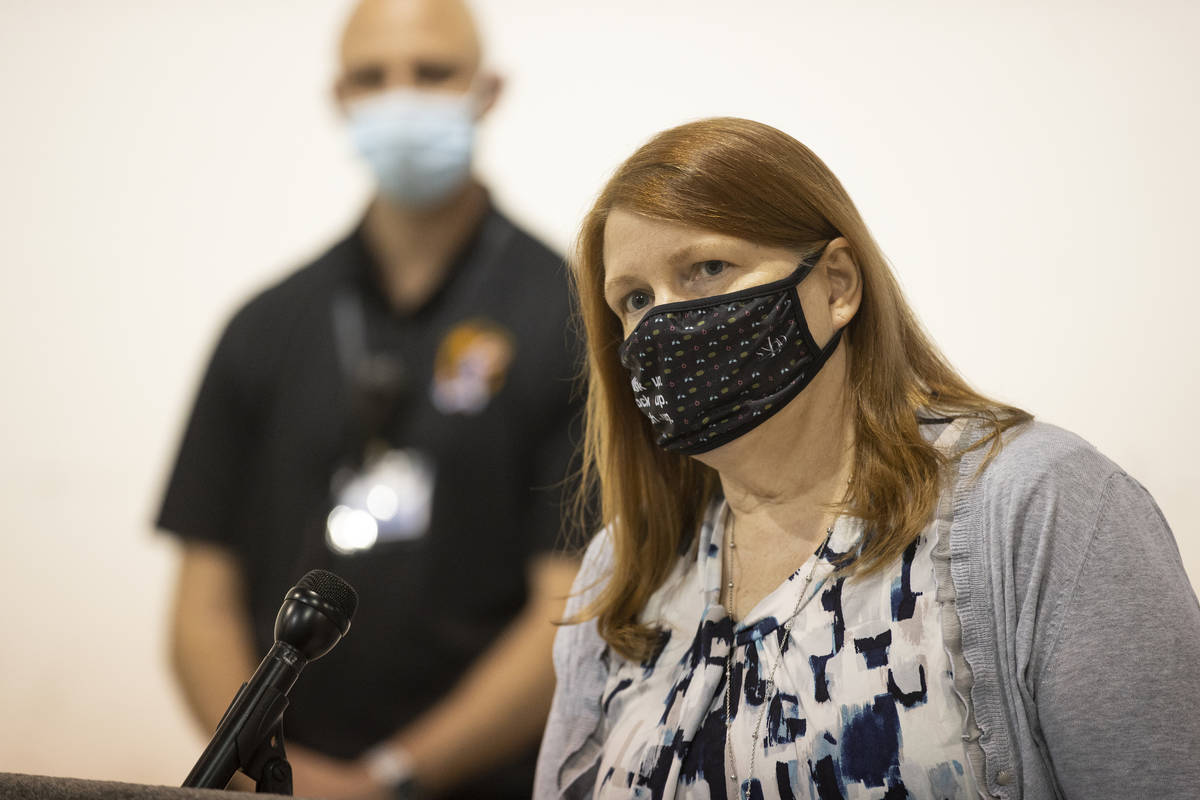 JoAnn Rupiper, chief nurse at the Southern Nevada Health District, speaks during a press confer ...