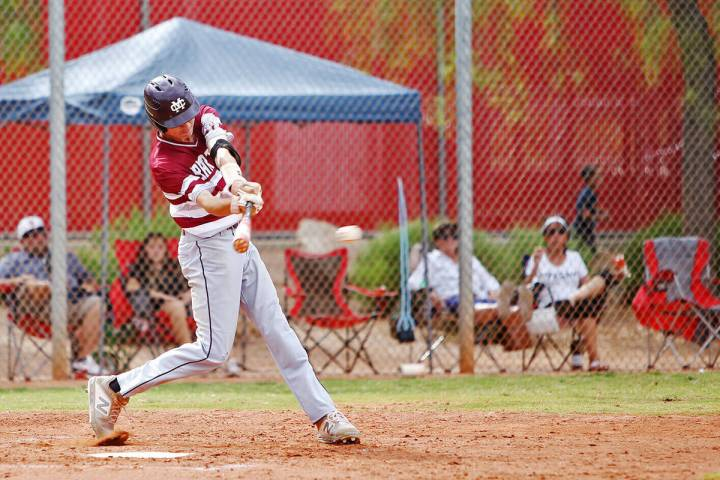 Cimarron-Memorial's Ethan Daniel (17) bats the ball against Arbor View in the second round play ...