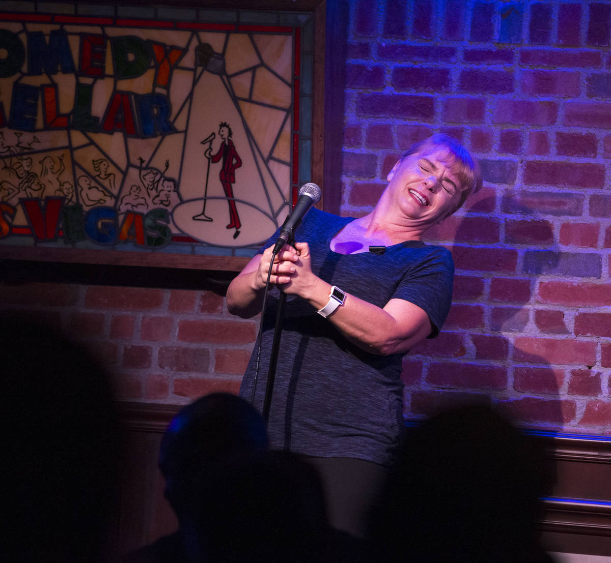 Comedian Traci Skene performs at the Comedy Cellar inside the Rio hotel-casino in Las Vegas on ...