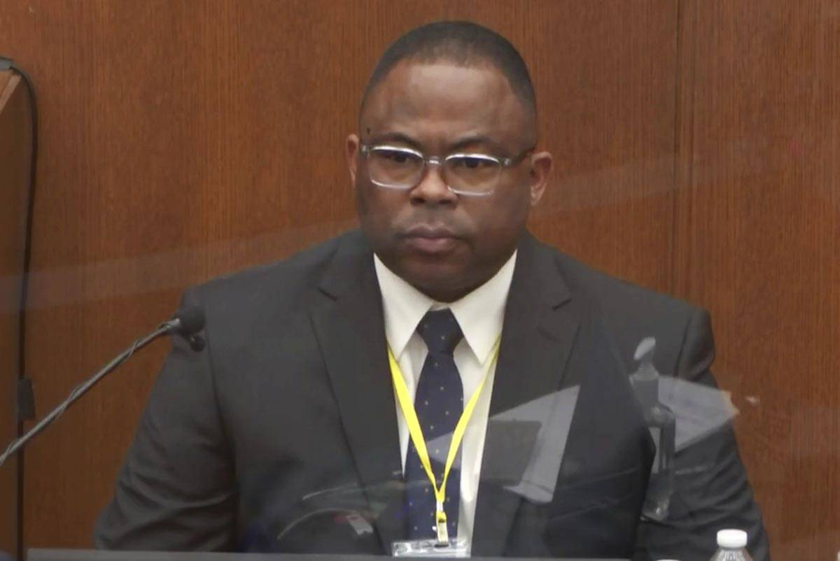 In this image from video, witness Jody Stiger, a Los Angeles Police Department sergeant testifi ...