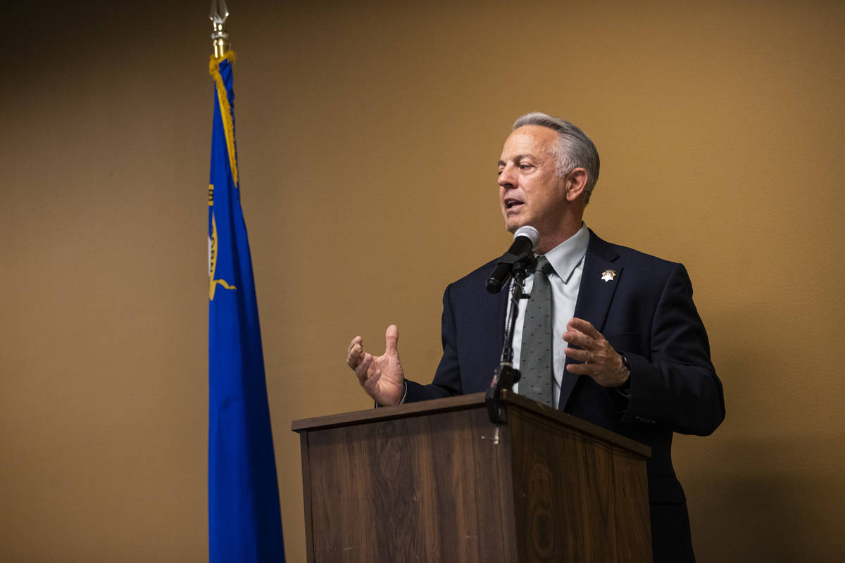 """Sheriff Joe Lombardo speaks during a ceremony for """"bravery and excellence"""" at Metropo ..."""