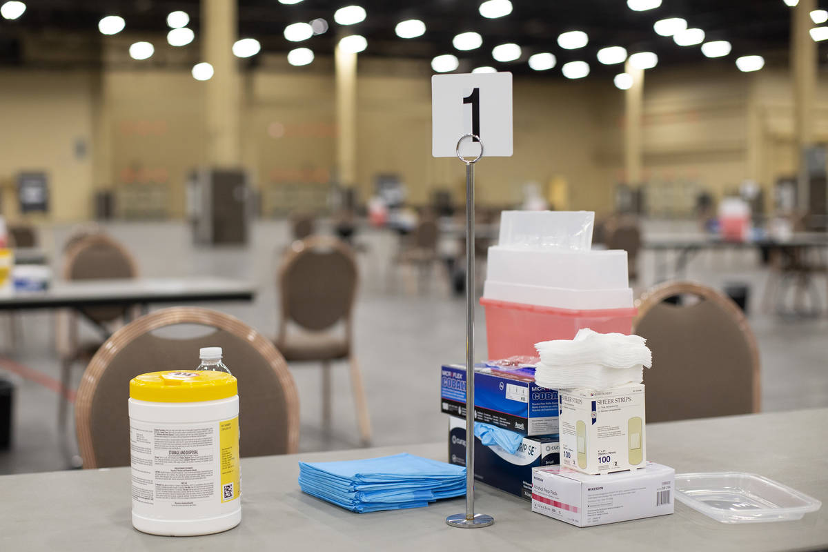 Vaccine supplies are laid out at a new site for COVID-19 vaccination at Mandalay Bay Convention ...