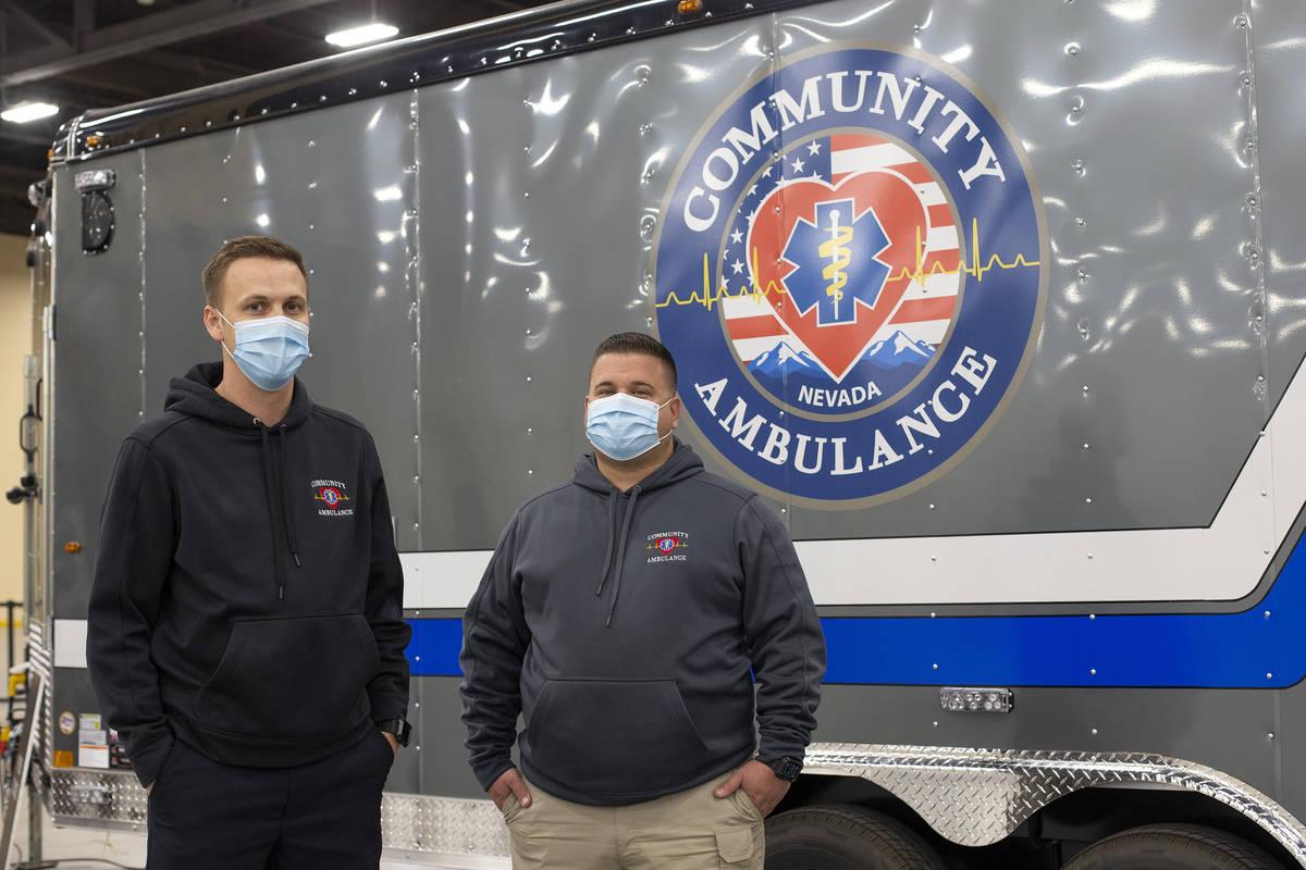 Glen Simpson, senior director for Community Ambulance, and Jesse Chmielewski, director of speci ...