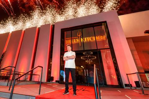 Gordon Ramsay is shown outside Hell's Kitchen at Caesars Palace in 2018. (Pat Gray)