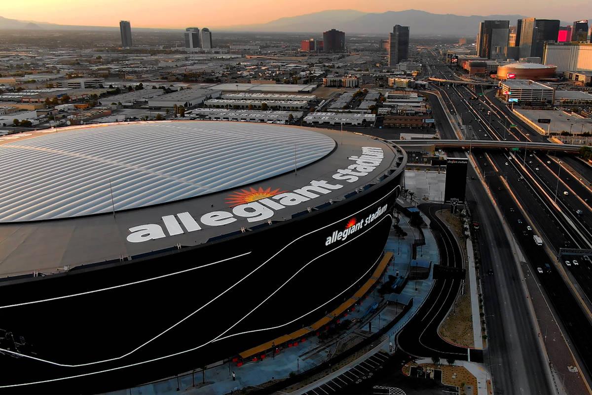 Aerial view of Allegiant Stadium and the Las Vegas Strip, seen in August 2020. (Michael Quine/L ...
