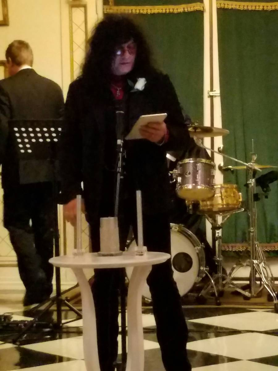Paul Shortino officiates the wedding of Chris Phillips and Jennifer Turco at The Hartland Mansi ...