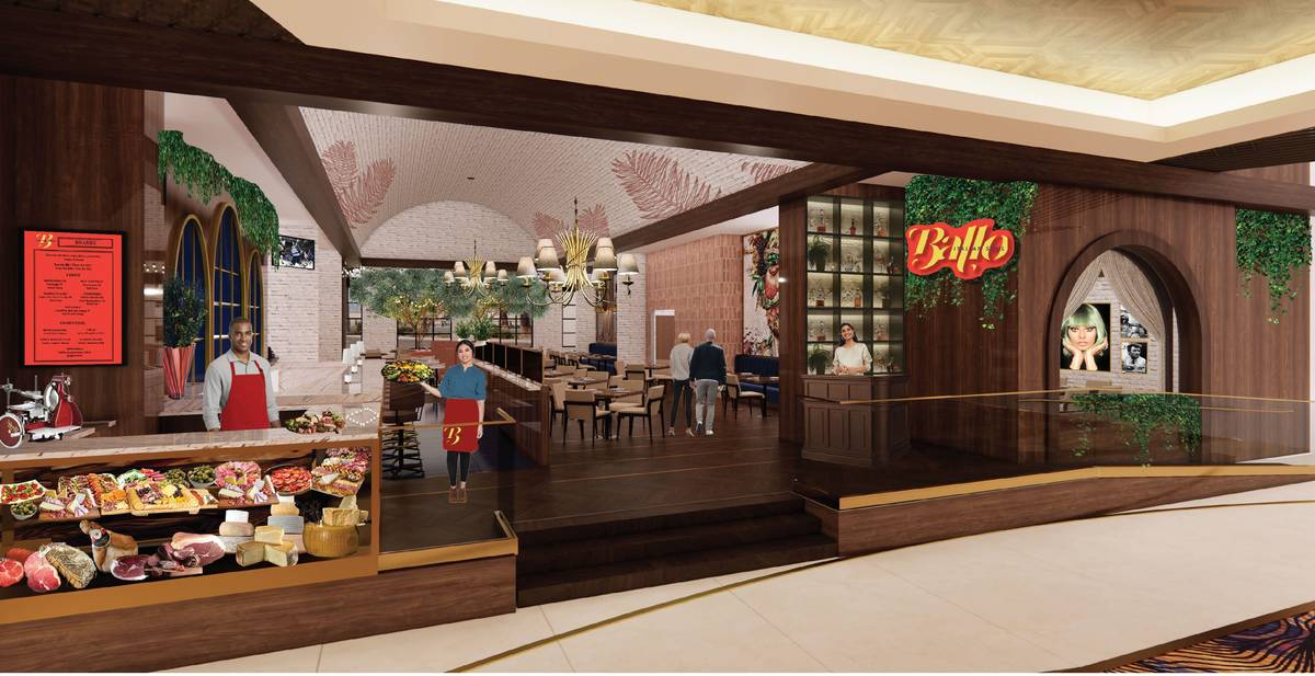Artist's rendering showing entrance and deli counter at Bello, the new restaurant from chef Sha ...