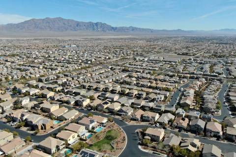 An aerial view of the Providence housing development near Knickerbocker Park in Las Vegas on Tu ...