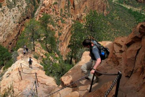 Hikers climb down the Angels Landing trail in Zion National Park in Utah in 2011. (Jud Burkett/ ...