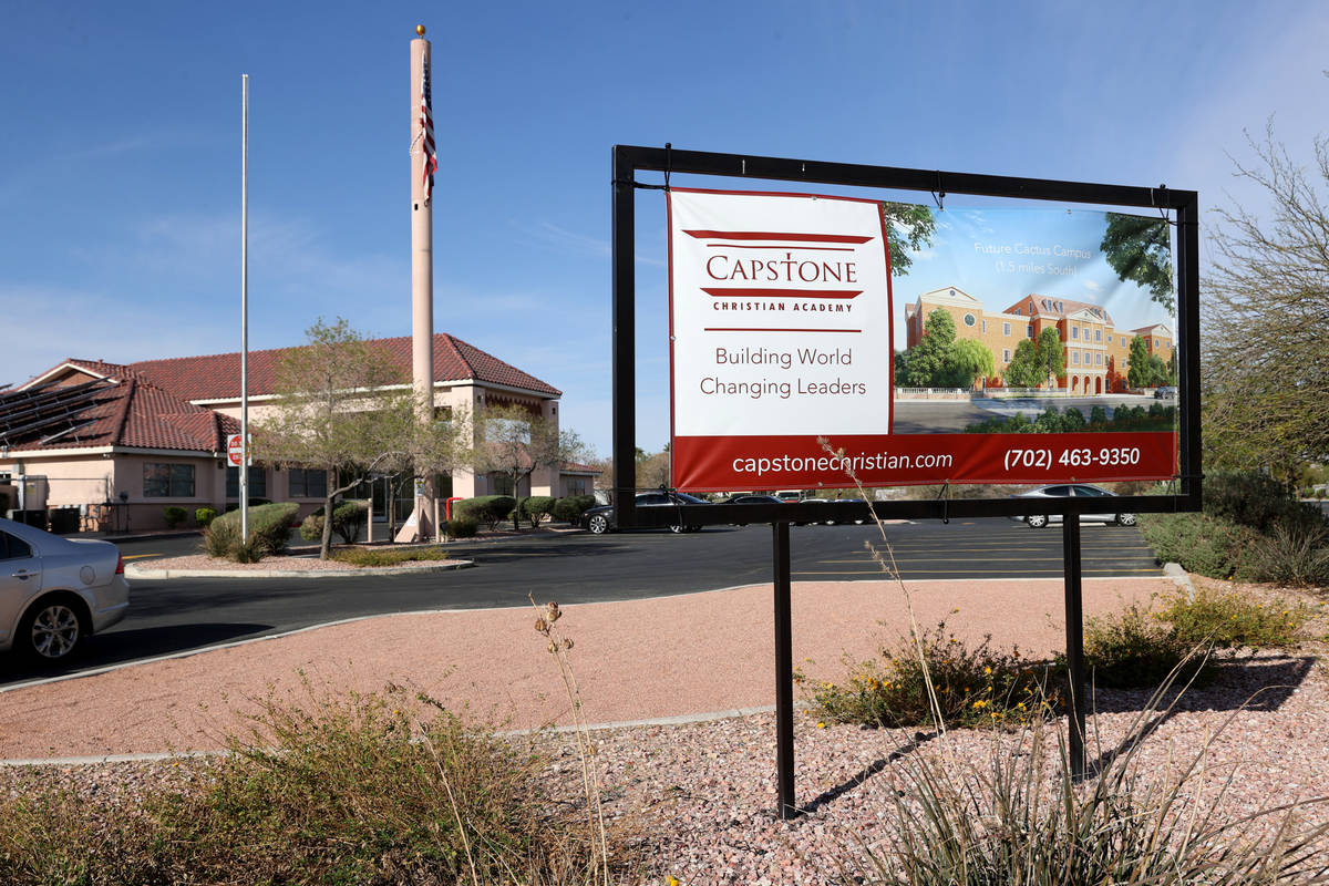 Capstone Christian Academy in Las Vegas Thursday, April 8, 2021. The new private school is set ...