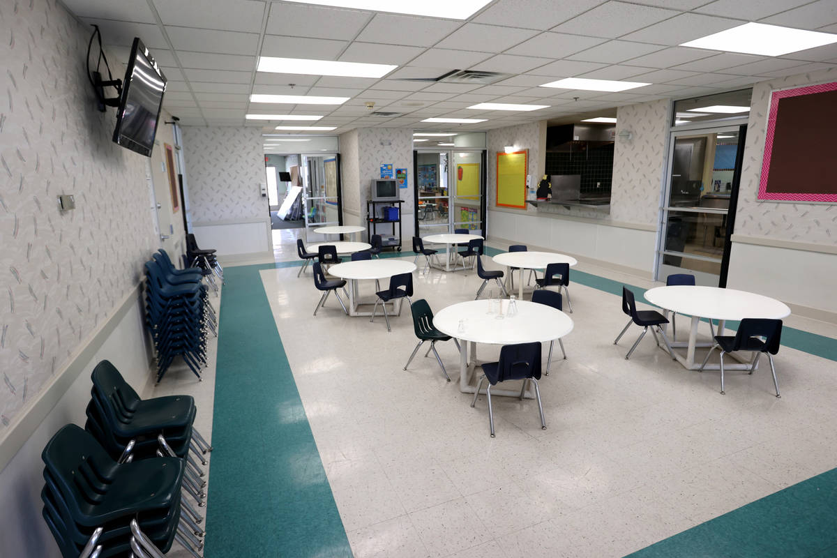 The cafeteria at Capstone Christian Academy in Las Vegas Thursday, April 8, 2021. The new priva ...