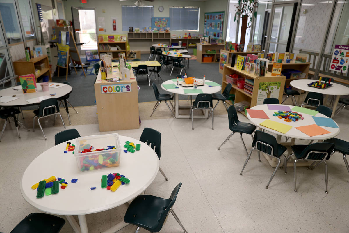 A classroom at Capstone Christian Academy in Las Vegas Thursday, April 8, 2021. The new private ...