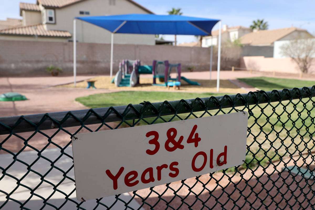 One of five playgrounds at Capstone Christian Academy in Las Vegas Thursday, April 8, 2021. The ...
