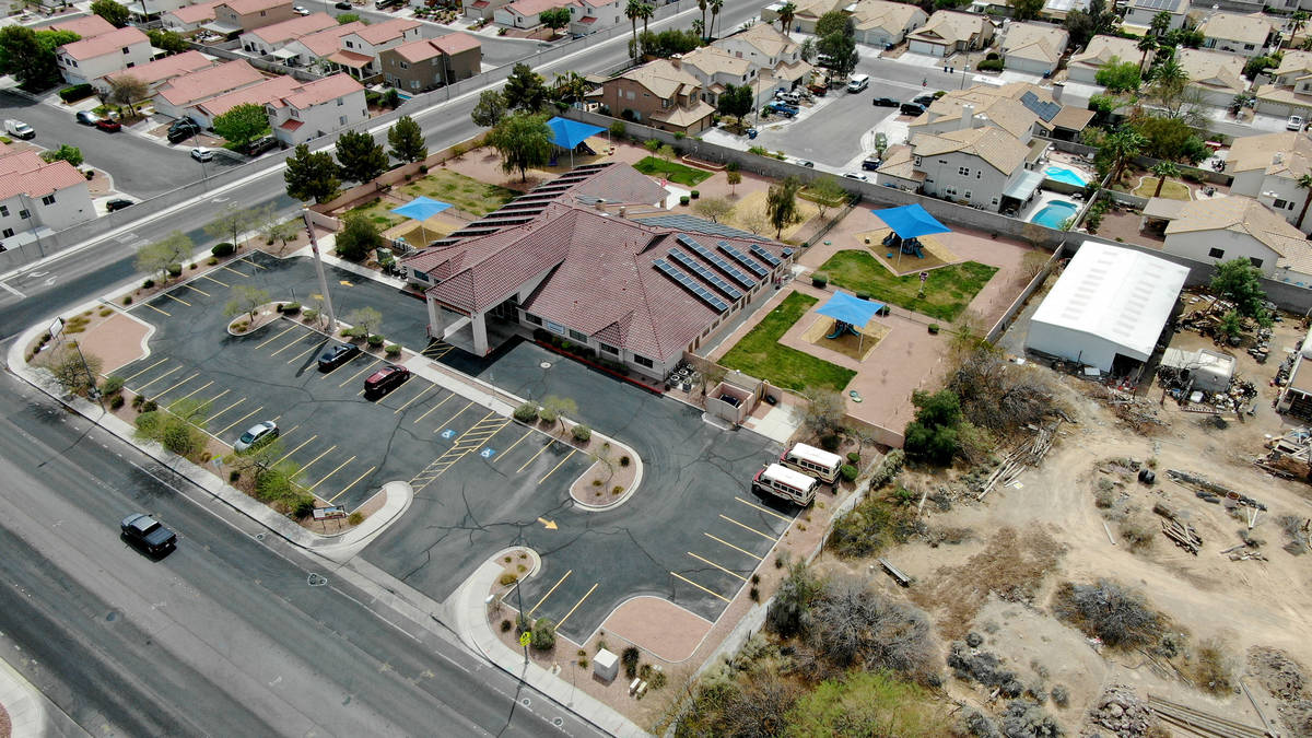 An aerial view of Capstone Christian Academy in Las Vegas Thursday, April 8, 2021. The new priv ...