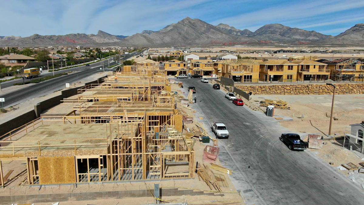 An aerial view of homes under construction in Crystal Canyon, a housing development near Far Hi ...