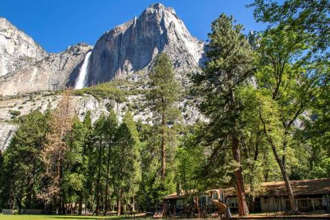 Yosemite Valley School, lower right, stands in Yosemite National Park, Calif., in May 2020. (Ja ...