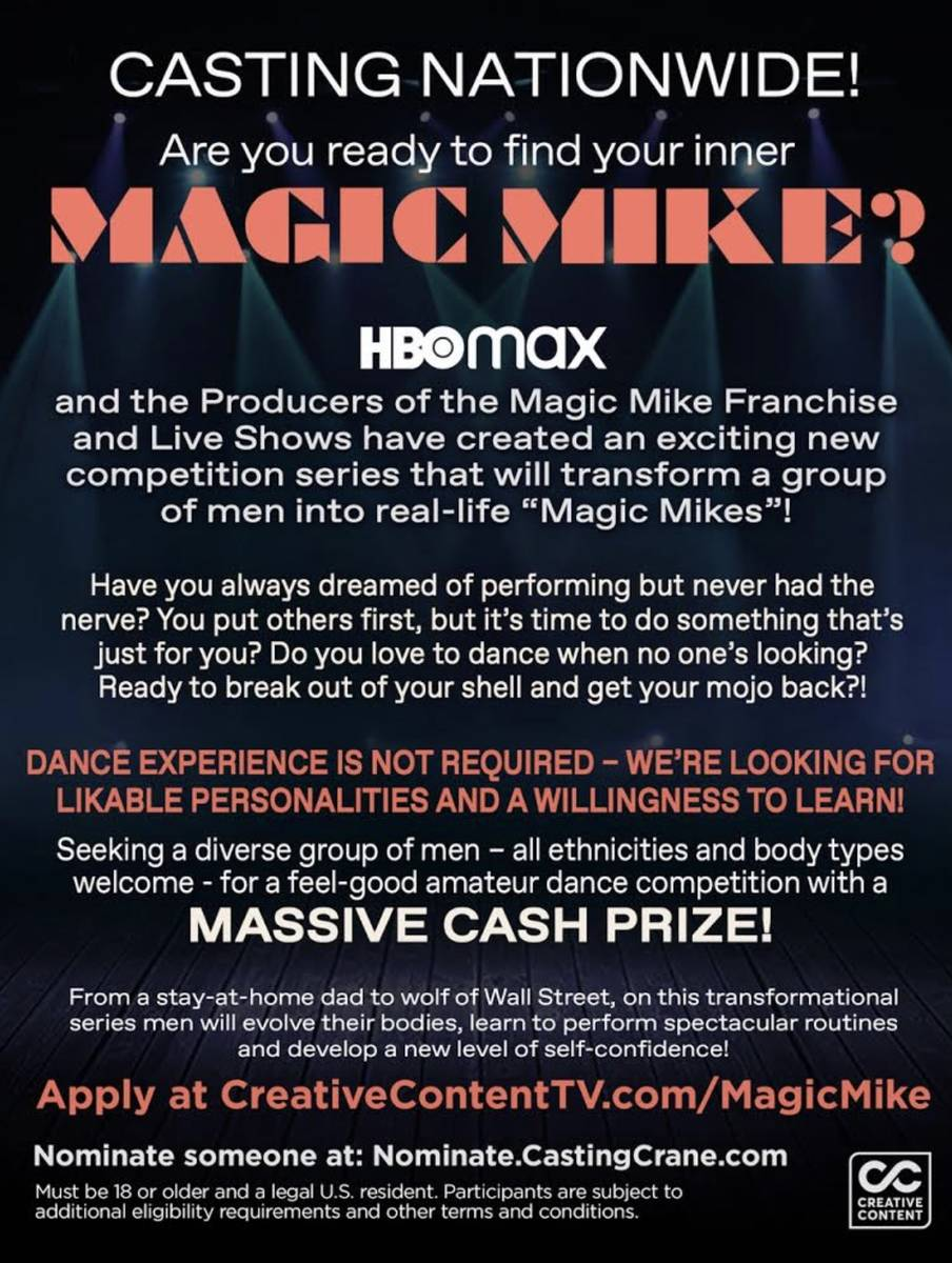 """The formal casting announcement for """"Real Magic Mike,"""" the unscripted contest show to air this ..."""