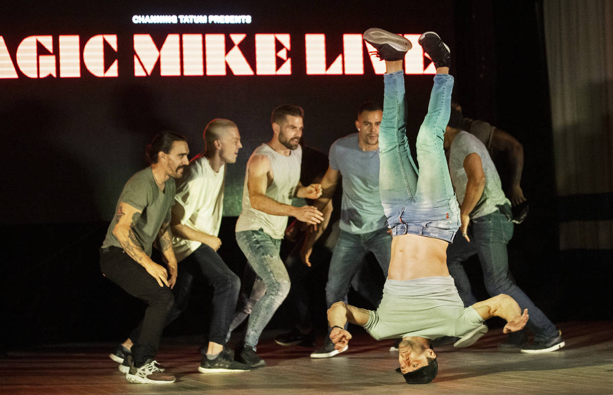 Dancers with Magic Mike Live perform during a promotional event at Sahara Las Vegas on Thursday ...