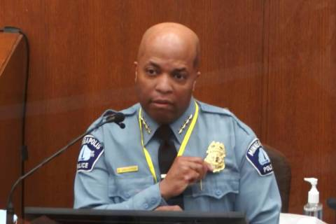In this image from video, witness Minneapolis Police Chief Medaria Arradondo testifies as Henne ...