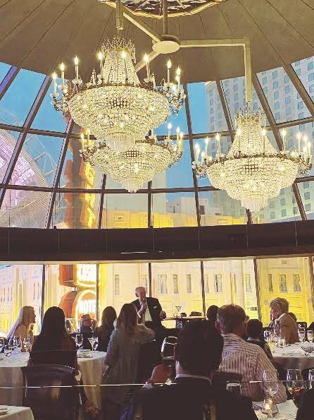 Oscar Goodman speaks in the glass dome of Oscar's Steakhouse. (Plaza)