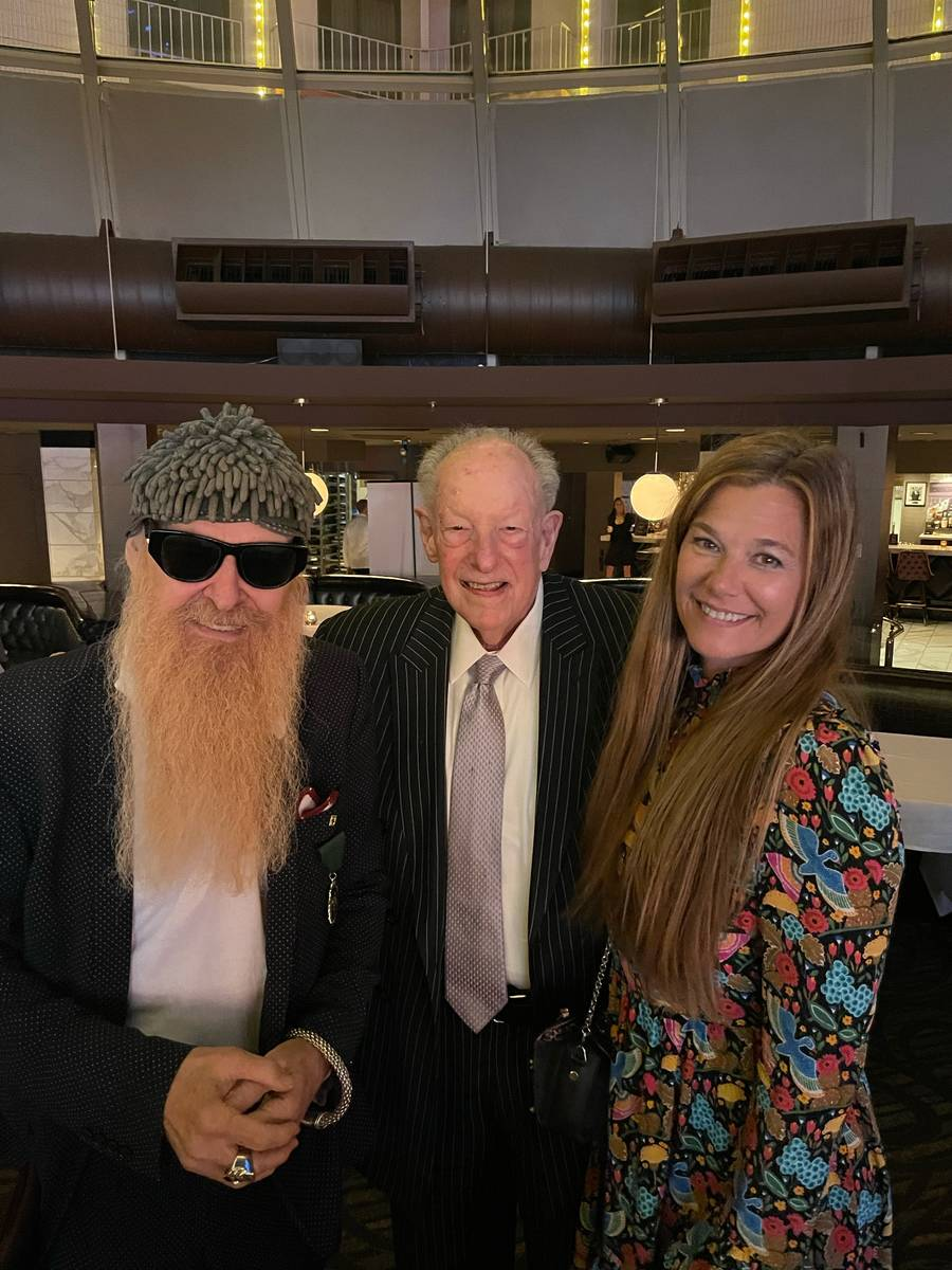 Billy Gibbons of ZZ Top; former Las Vegas Mayor Oscar Goodman; and Gibbons' wife, Gilligan, are ...