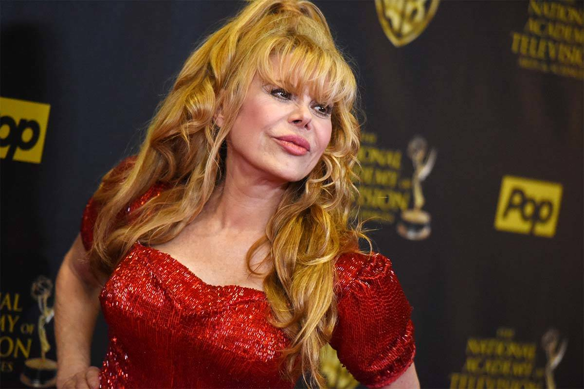 Charo poses in the pressroom at the 42nd annual Daytime Emmy Awards at Warner Bros. Studios on ...