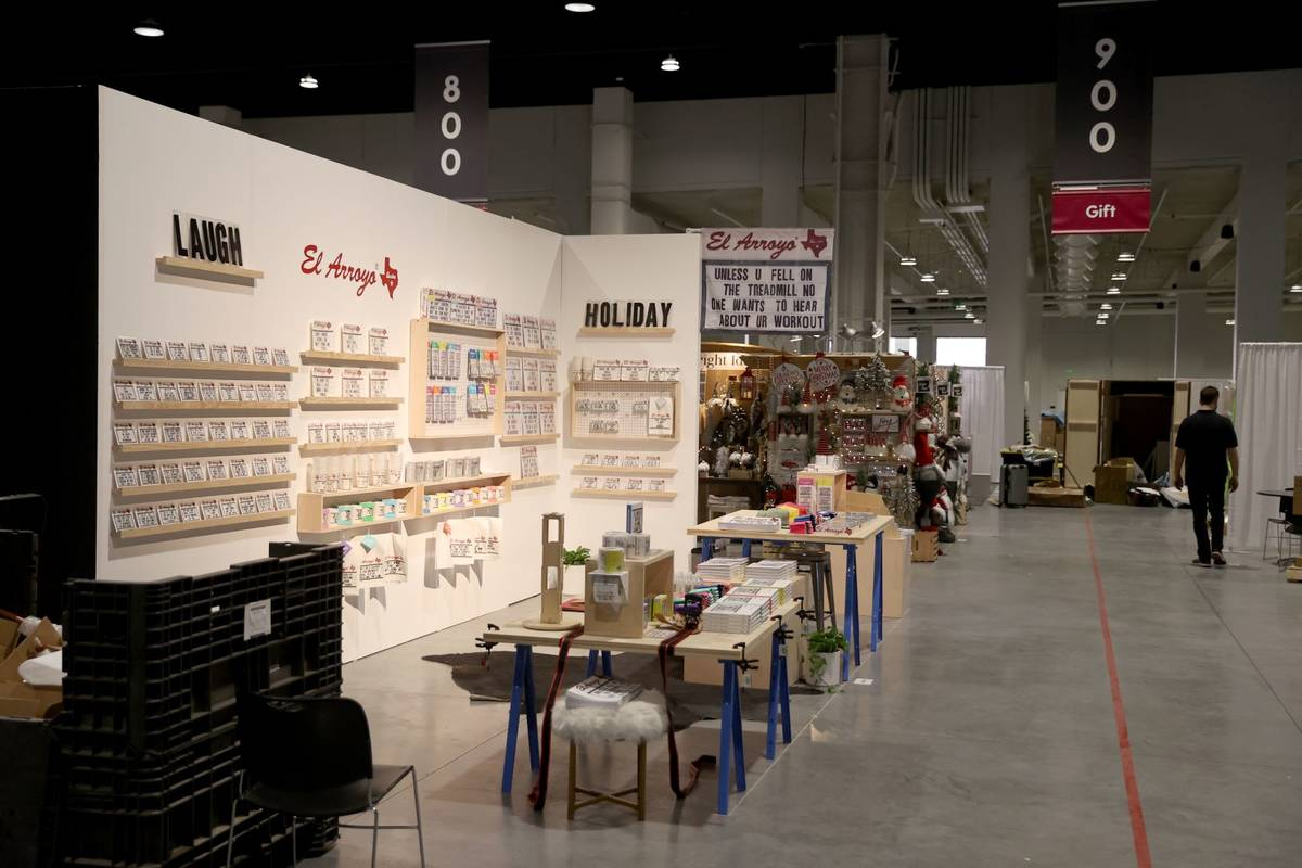 Gift and home temporary exhibitors set up for the Las Vegas Market after a ribbon-cutting cerem ...