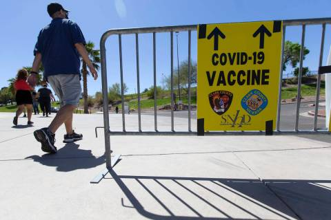 The vaccine site at Cashman Center is open on Saturday, April 10, 2021, in Las Vegas. (Ellen Sc ...
