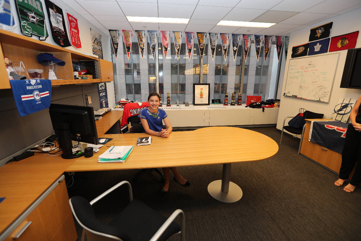 New York Rangers fan Sabrina Solomon visits NHL headquarters in New York on Aug. 18, 2017. Her ...