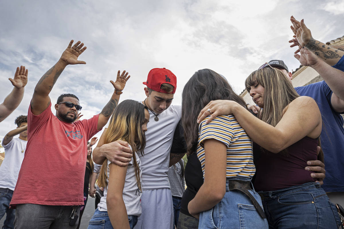 A prayer is said for Aaliyah Velasquez, 9, who was hit by a car and severely injured March 30, ...