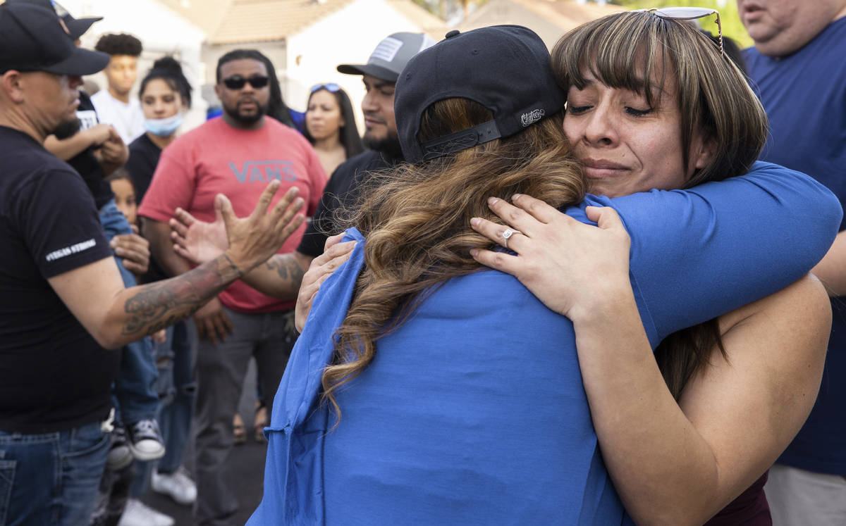 Carmen Velasquez, right, mother of Aaliyah Velasquez, 9, who was hit by a car and severely inju ...