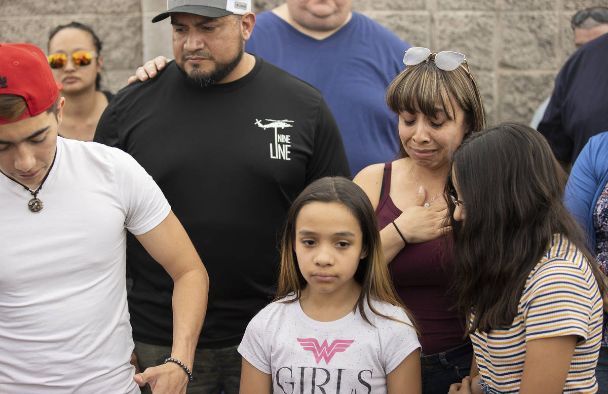Carmen Velasquez, top/right, mother of Aaliyah Velasquez, 9, holds back tears while speaking at ...
