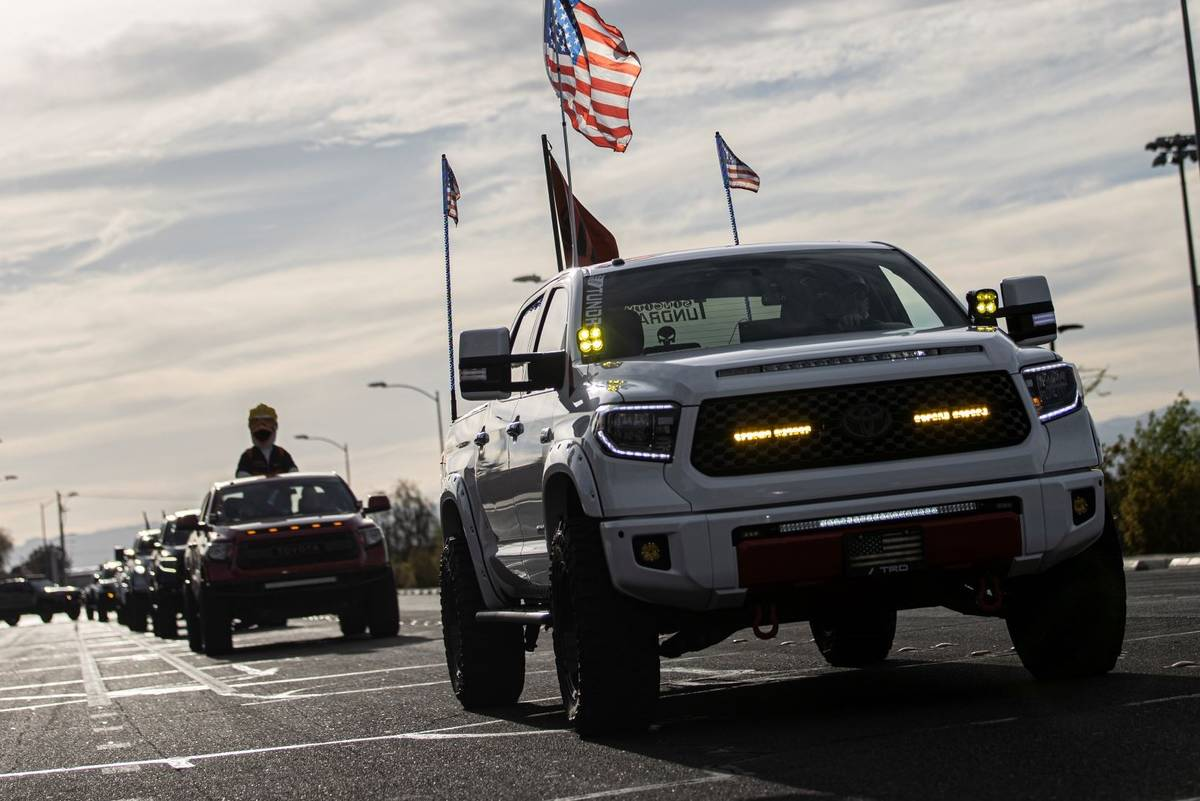 Hundreds of trucks pack Newport Drive in Henderson during a vehicle parade hosted by City Tundr ...