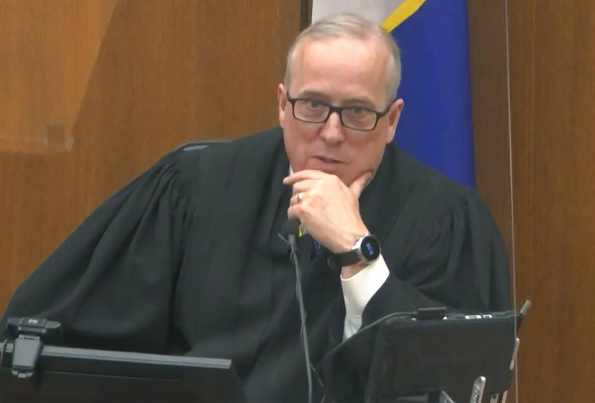 In this image from video, Hennepin County Judge PeterCahill discusses motions before the ...
