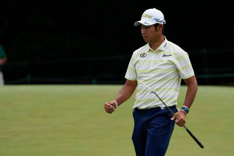 Hideki Matsuyama, of Japan, during the final round of the Masters golf tournament on Saturday, ...