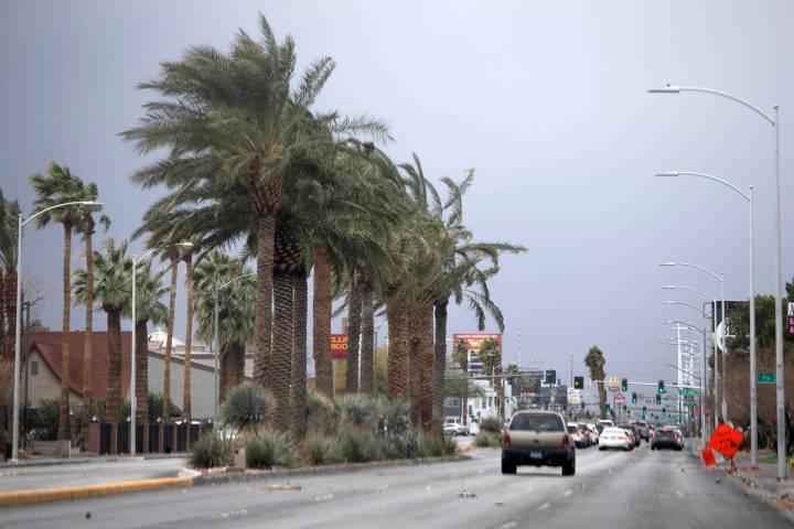 Traffic moves on East Charleston Boulevard on Saturday, Feb. 13, 2021, in Las Vegas. (Ellen Sch ...